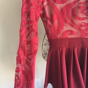 Romper red skirt and lace